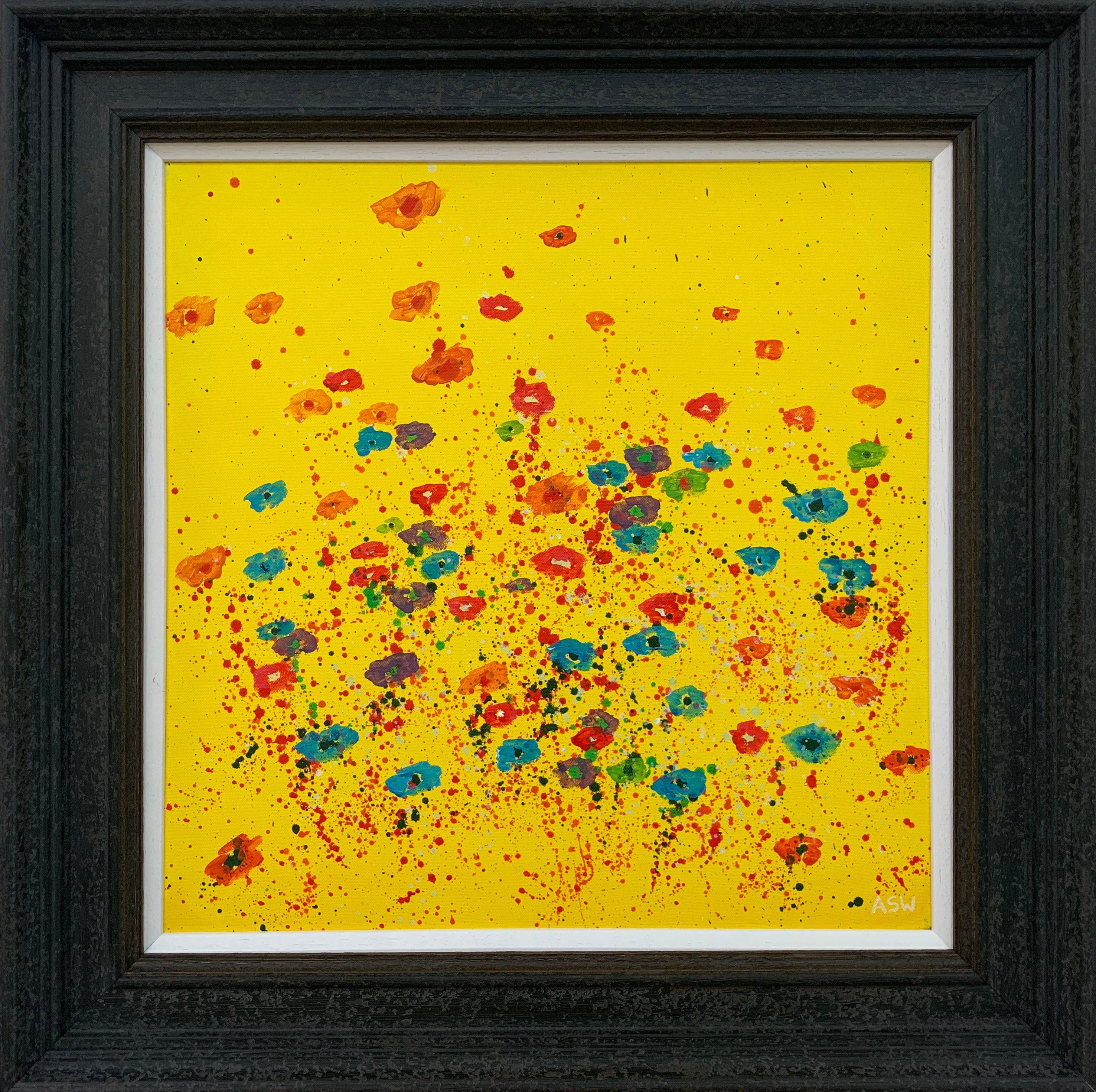Abstract Red Pink Blue Flowers on Yellow Background by British Landscape Artist
