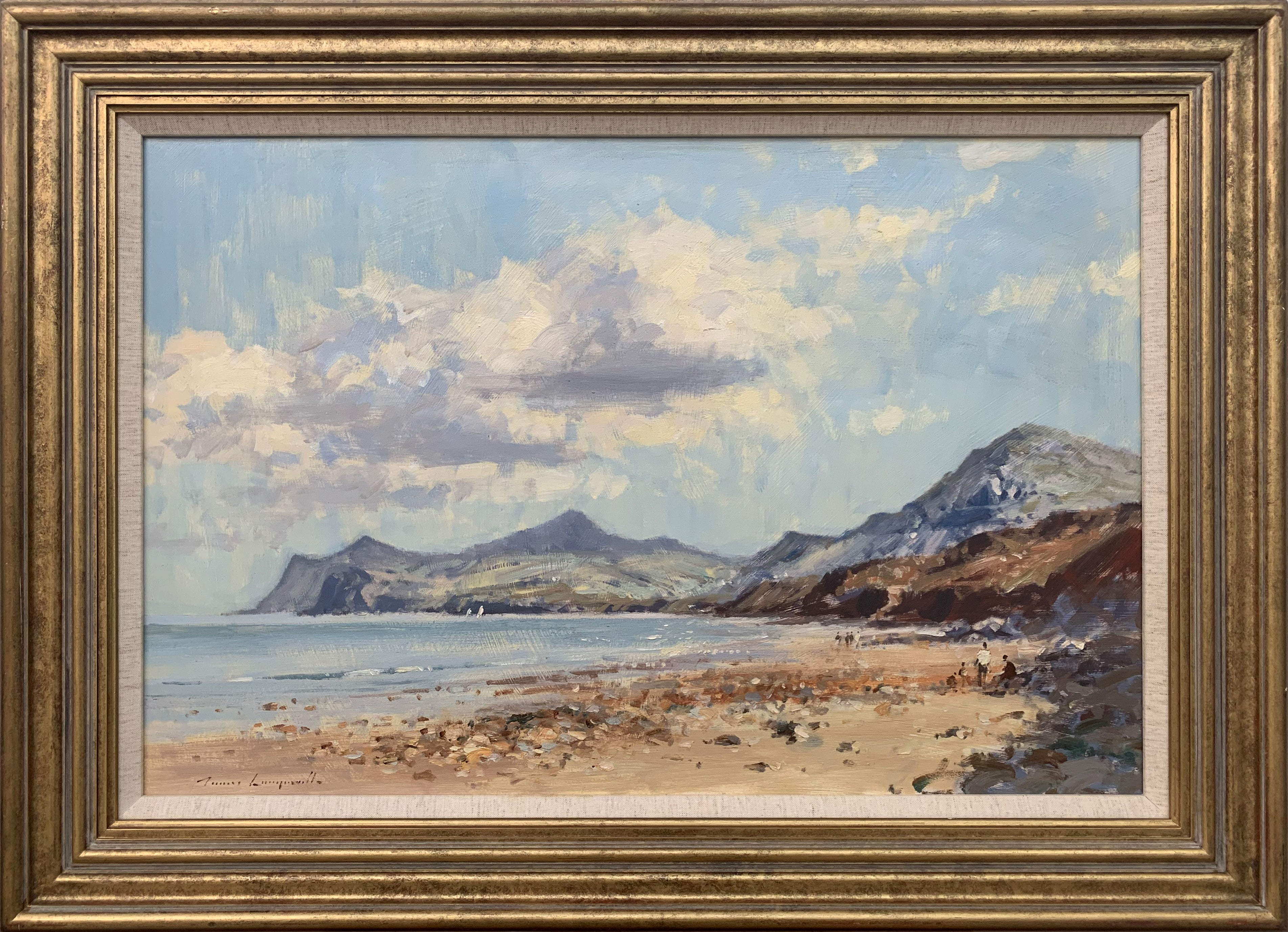Landscape Seascape Painting of Coast from Nefyn in North Wales by British Artist