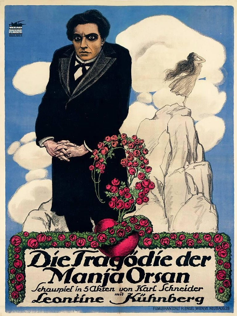 Theo Matejko Figurative Print - Tragedy silent film poster romantic dramatic cinema gothic flowers heart
