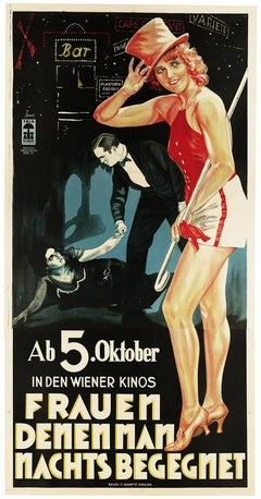 The Lady in Black, Art Deco lithographic silent film poster, 1928