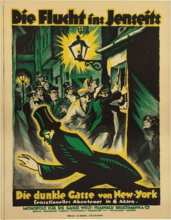 The Flight to the Afterlife, 1921 by Karl Petau, Original Silent film poster