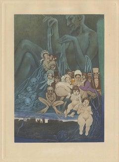 Les fleurs du mal: Frontispiece, 1934; Hand-colored engraving by Manuel Orazi