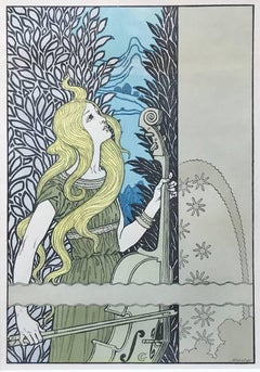 Le Violoncelle (Woman with Cello) by Eugene Grasset, c. 1900 Lithograph