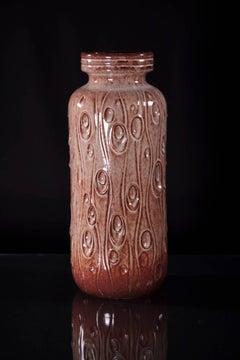 German Mid Century Modernist Coral Floor Vase by Scheurich, 1960s