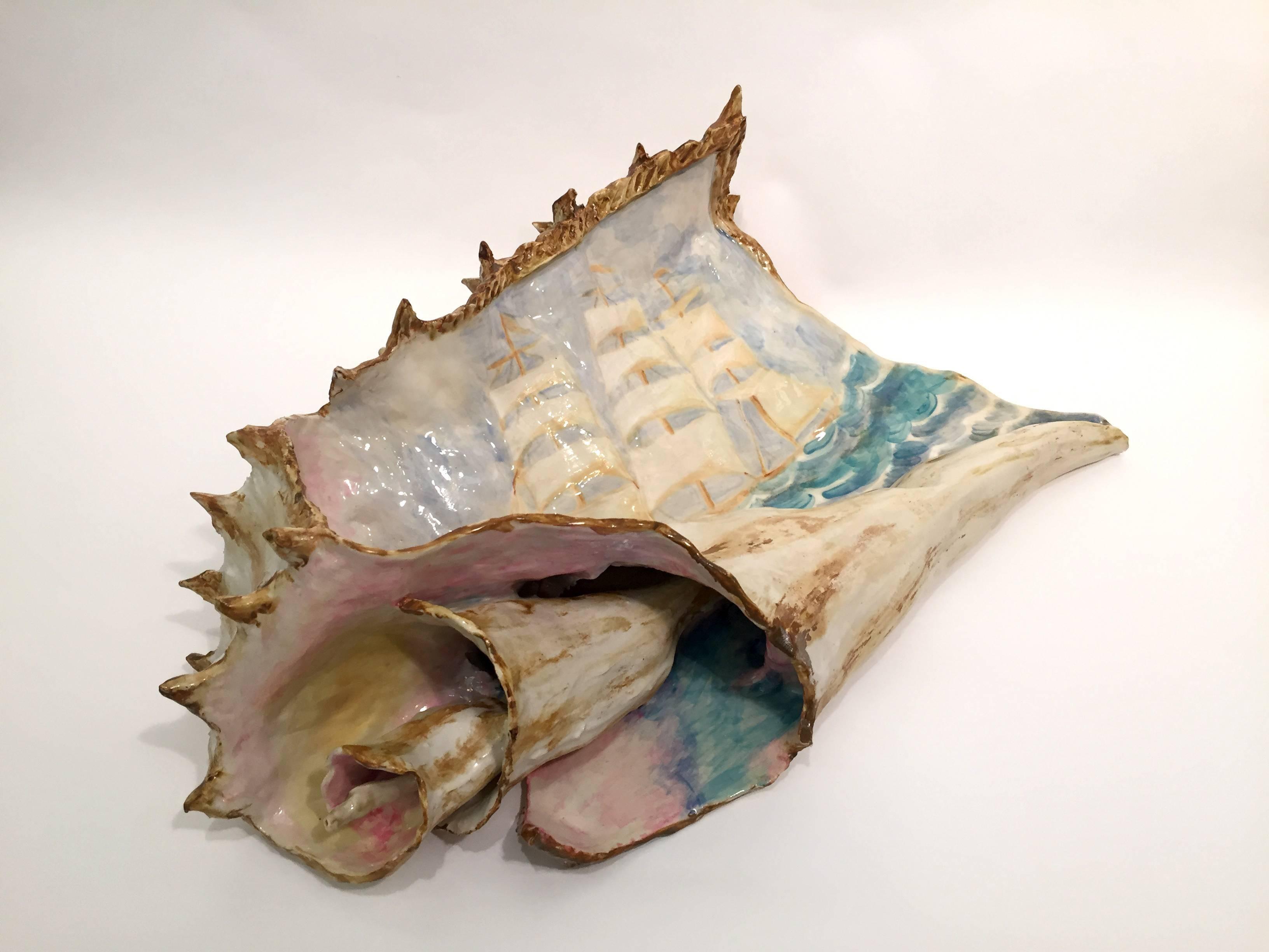 Clipper Ship and Broken Shell