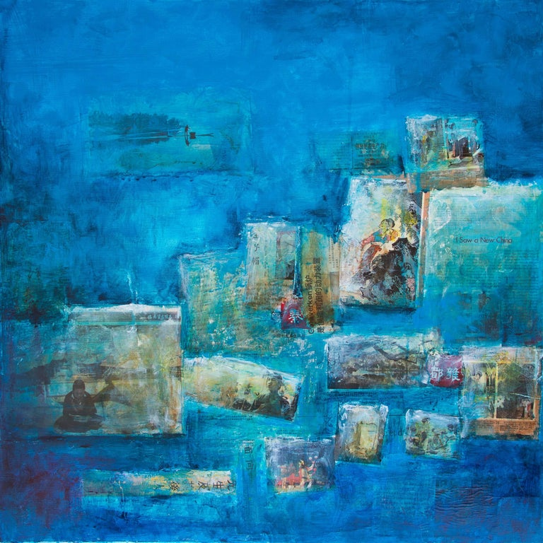 I saw a new China, Contemporary Art Mixed Media Blue Acrylic on Canvas