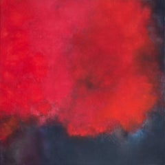 Karkade, Square Abstract Strong Red Colored Pastel on canvas