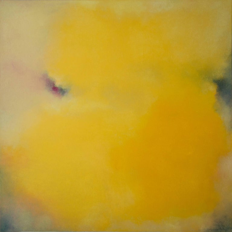 Echo,  Square Abstract Yellow Softcolored Pastel on canvas