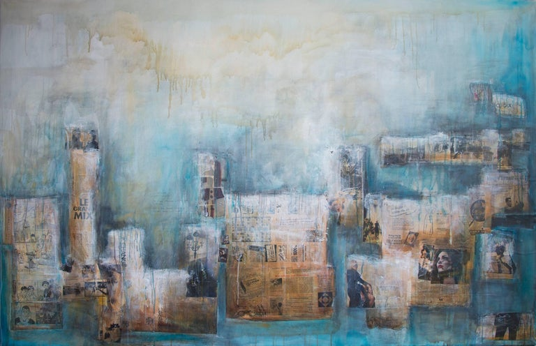 Robert van Bolderick Abstract Painting - In our sleep where we meet, contemporary street art mixed media blue painting