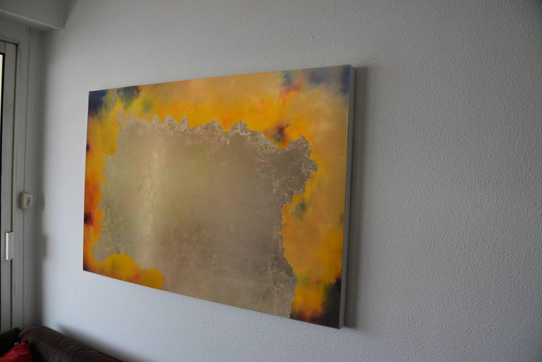 Nuits de Chine, pastel & gold leaf painting, abstract landscape - Abstract Mixed Media Art by KC PAILLARD