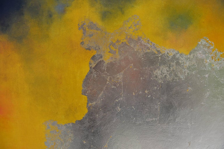 Dry pastel and gold leaf mixed media painting, abstract landscape. Pastel and pure pigments that is crushed, smashed and smeared on the canvas with the artist's fingers and hands. It is a very physical way of painting.