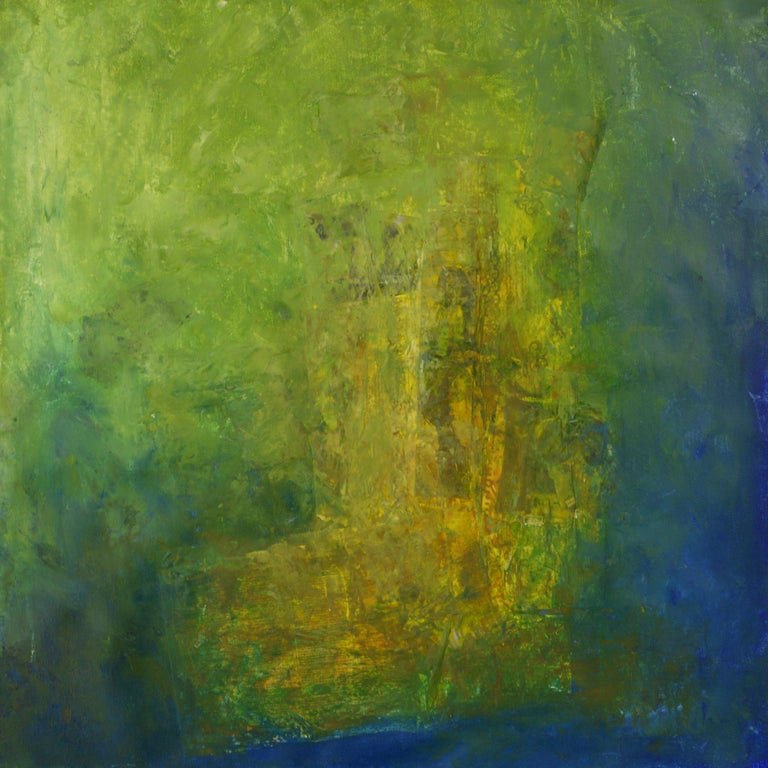 Robert van Bolderick Abstract Painting - Vista anterior, shades of green, sea green shadows, moss green, yellow