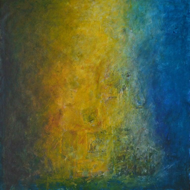 Robert van Bolderick Abstract Painting - La Buena Fama, shades of blue, sea green shadows, moss green, yellow