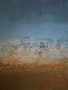 Bazaar, abstract landscape, light blue, skyline