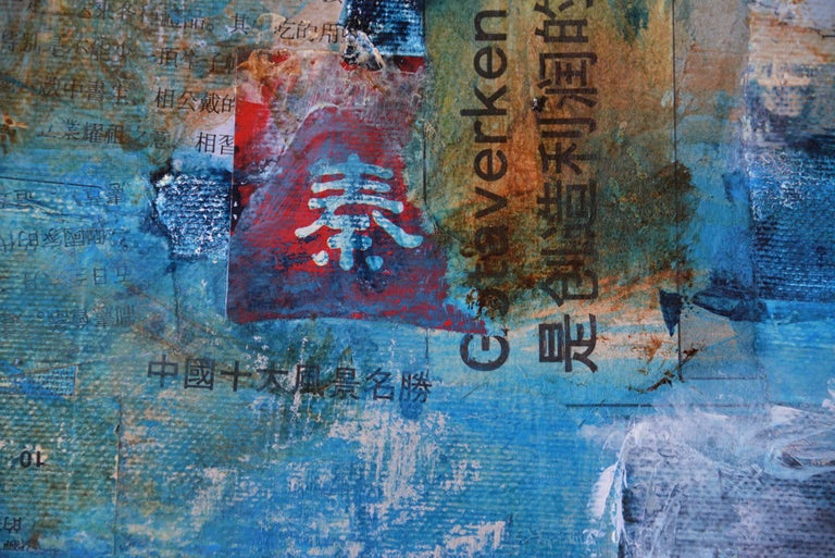 I saw a new China, Contemporary Art Mixed Media Blue Acrylic on Canvas - Pop Art Mixed Media Art by Robert van Bolderick
