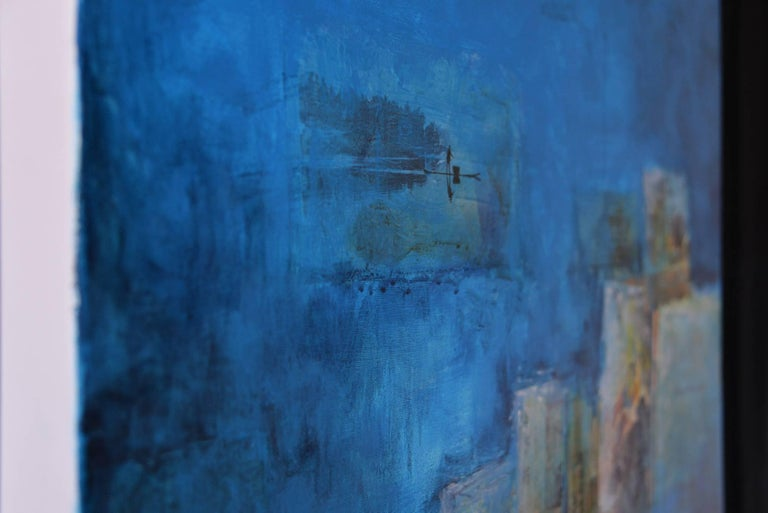 I saw a new China, Contemporary Art Mixed Media Blue Acrylic on Canvas For Sale 1