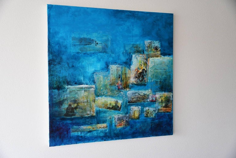 I saw a new China, Contemporary Art Mixed Media Blue Acrylic on Canvas For Sale 4