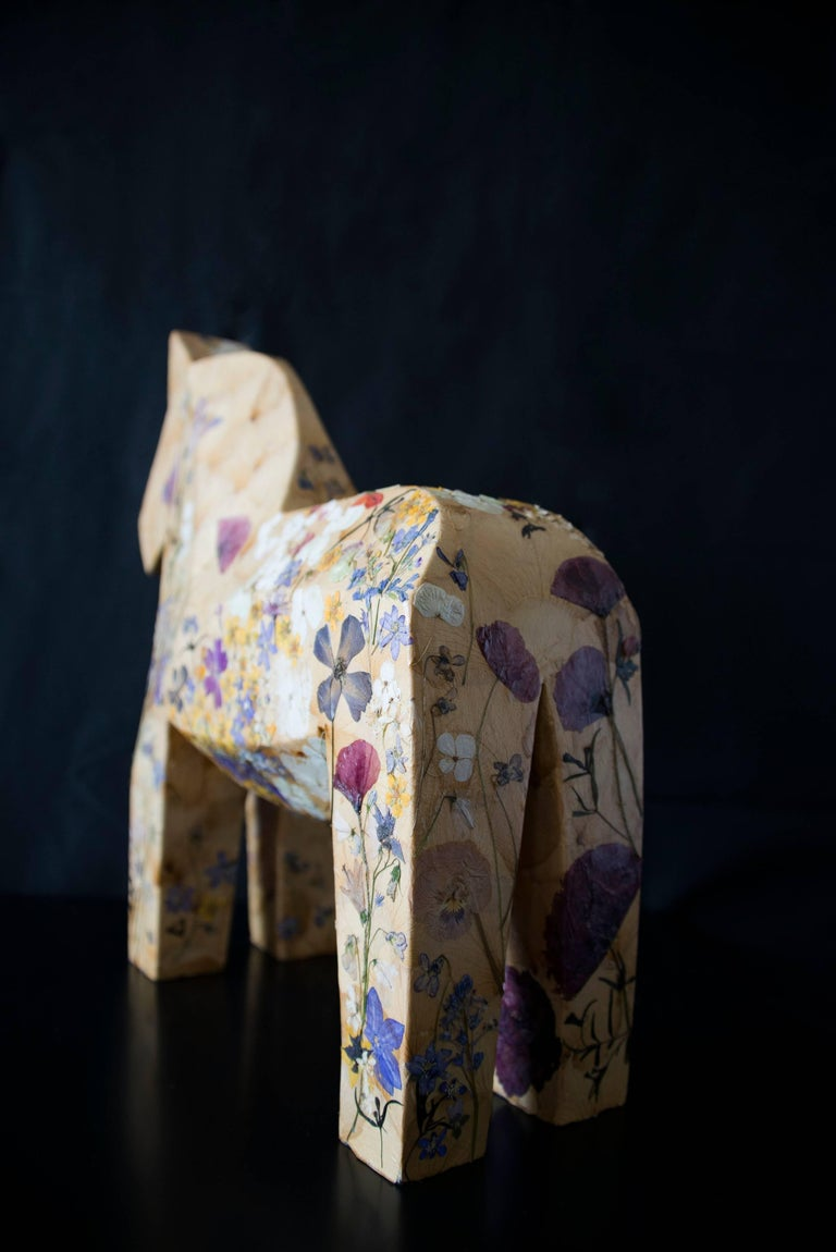 Mille Fiori,  pressed flowers on wood horse  For Sale 1