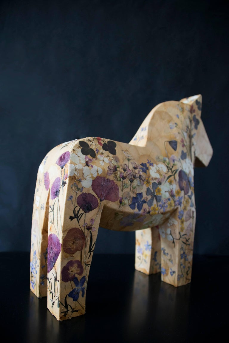 Mille Fiori,  pressed flowers on wood horse  For Sale 2
