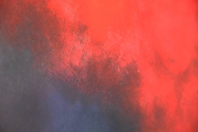 Dry pastel with pure pigments, that I crush, smash and smear on the canvas, with fingers and hands. The multiple layers create new combinations and collision of colors, the light appears or disappears like a cloudy sky, a dream landscape, an