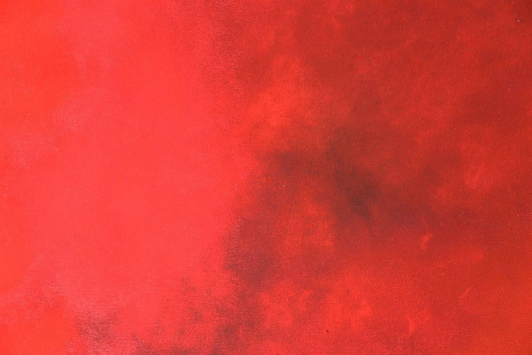 Karkade, Square Abstract Strong Red Colored Pastel on canvas - Painting by KC PAILLARD