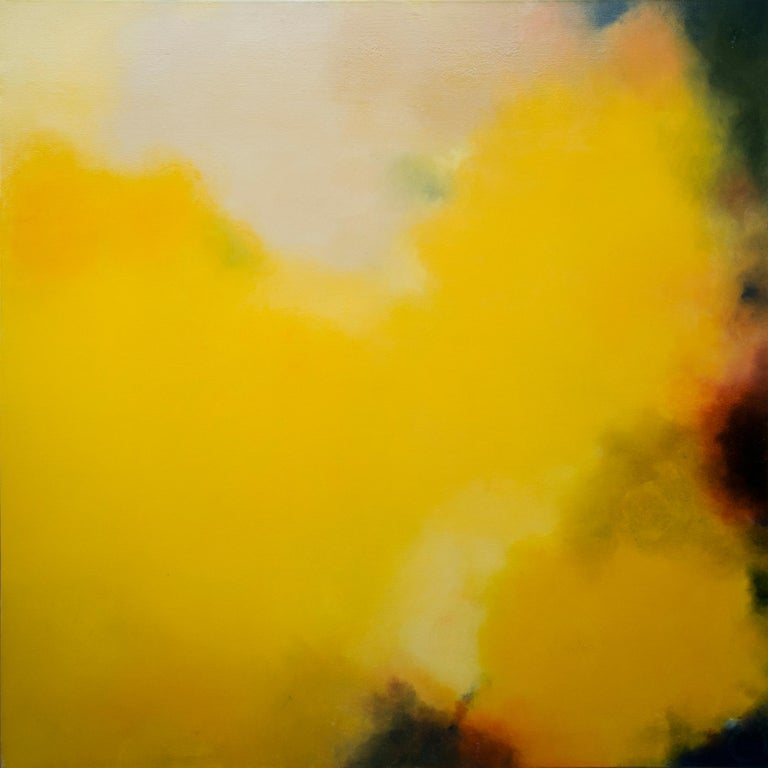 Shades of Doubt and Shapes of Hope, Abstract Yellow Softcolored Pastel on canvas