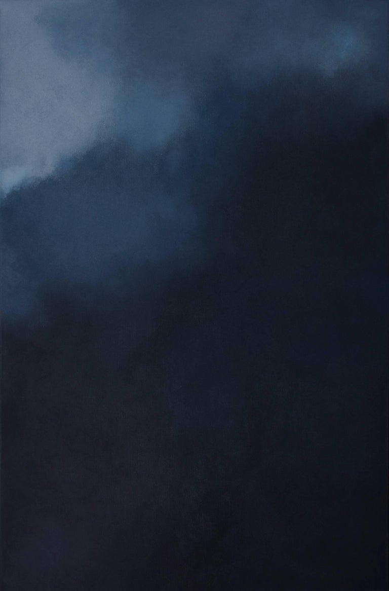 KC PAILLARD Abstract Painting - Silence,  Dark Blue Grey Abstract Softcolored Pastel on canvas