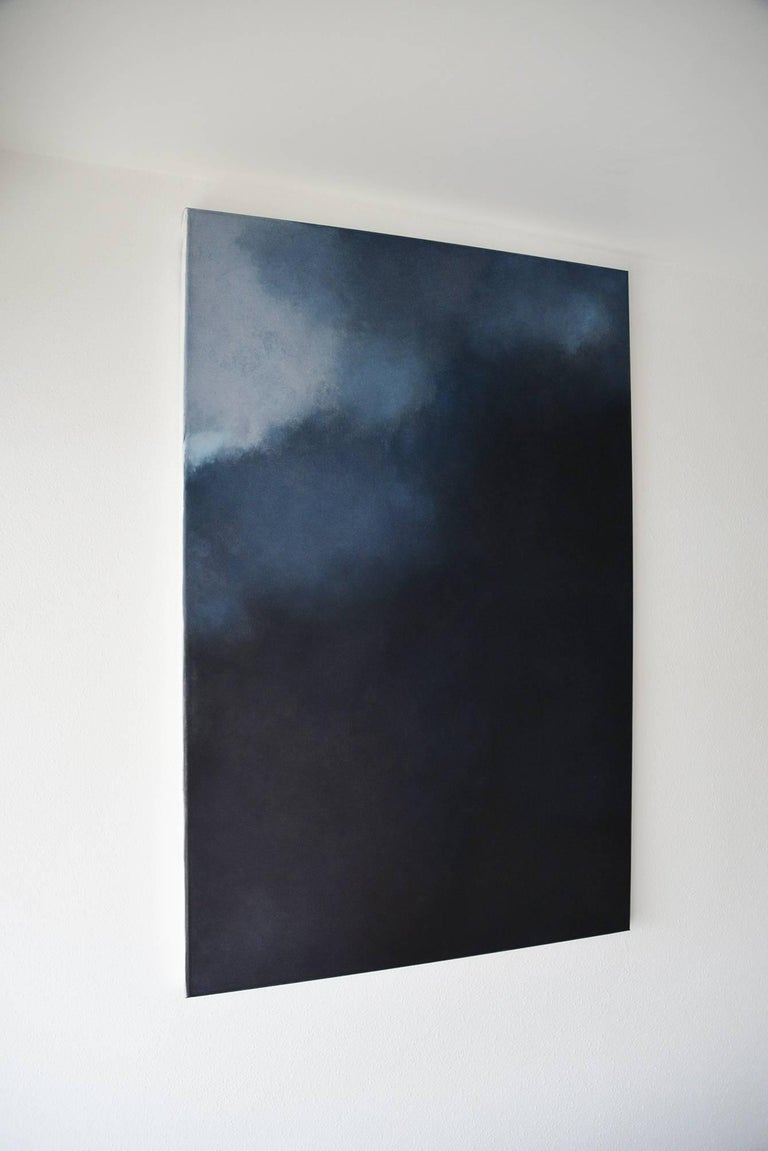 Silence,  Dark Blue Grey Abstract Softcolored Pastel on canvas  For Sale 1
