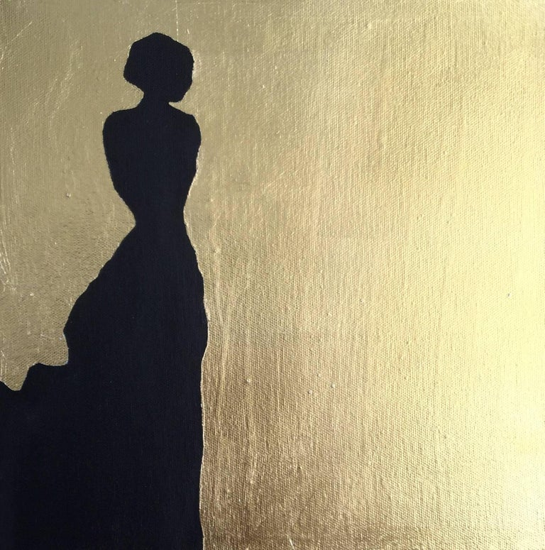 Silhouette, 4 paintings - Gold Figurative Painting by K. Odal