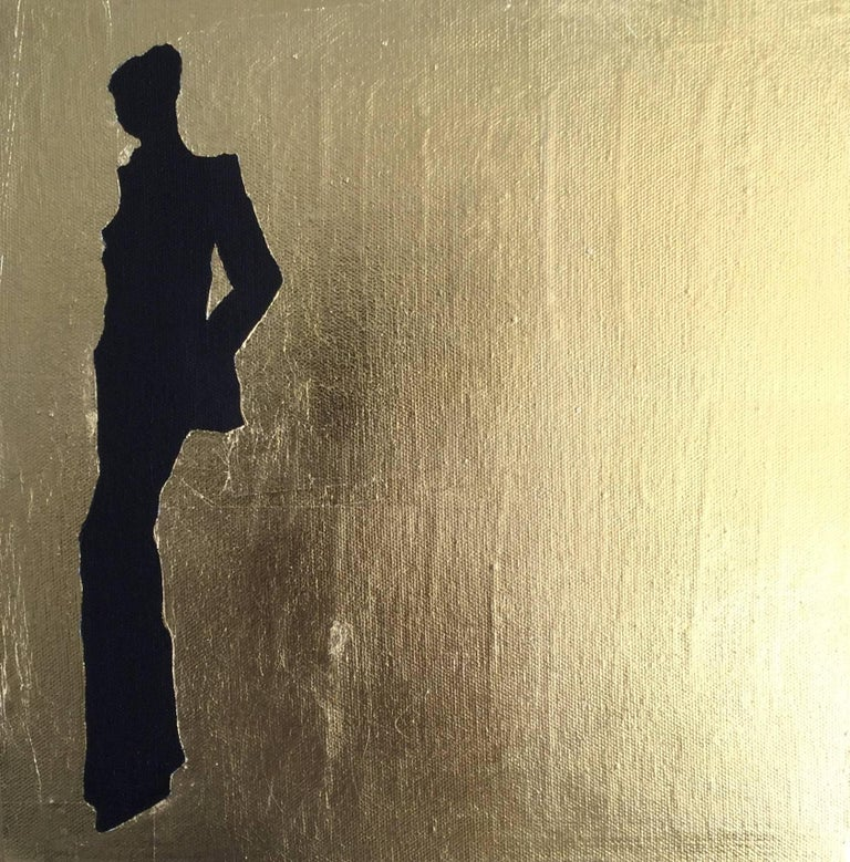 """Acrylic and gold leaves on canvas.  Inspiration from art history, architecture, design and fashion Four paintings times 30x30cm / 12""""x12""""  Haute Couture is related to Paris and can be referenced back as early as the 17th Century. Rose Bertin, the"""