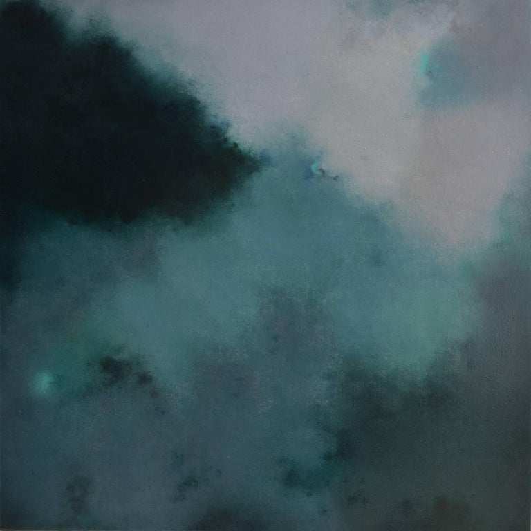 KC PAILLARD Abstract Painting - Verdigris, Square Abstract Green Softcolored Pastel on canvas