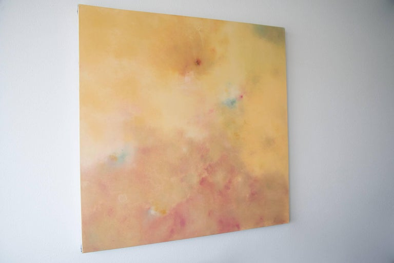 Carpe Diem, Square Abstract Softcolored Softlight Pastel on canvas - Painting by KC PAILLARD