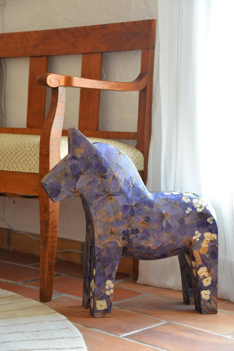 Hanami, pressed flowers on wood horse  For Sale 1