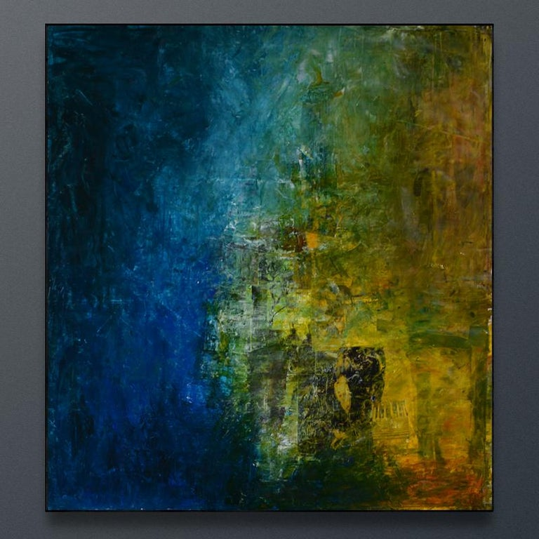 Vista Posterior, shades of blue, sea green shadows, moss green, yellow ochra - Abstract Painting by Robert van Bolderick