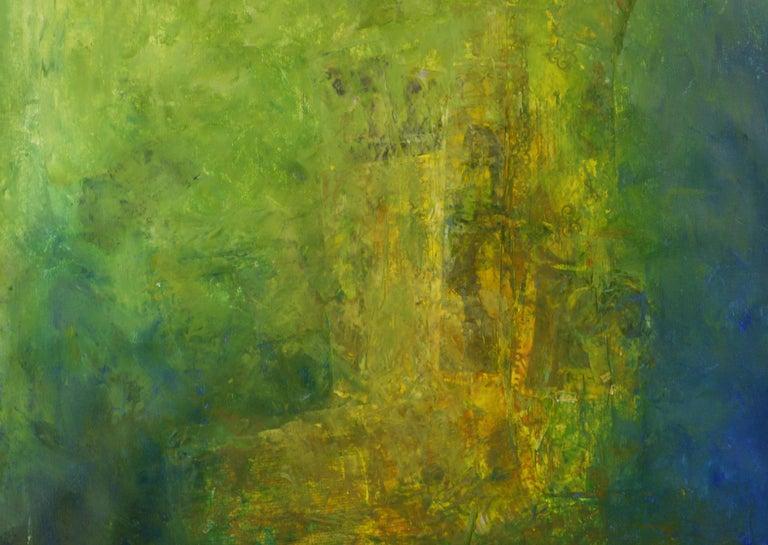Vista anterior, shades of green, sea green shadows, moss green, yellow  - Painting by Robert van Bolderick