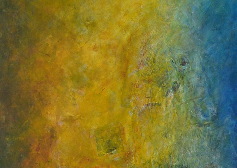 La Buena Fama, shades of blue, sea green shadows, moss green, yellow - Abstract Painting by Robert van Bolderick
