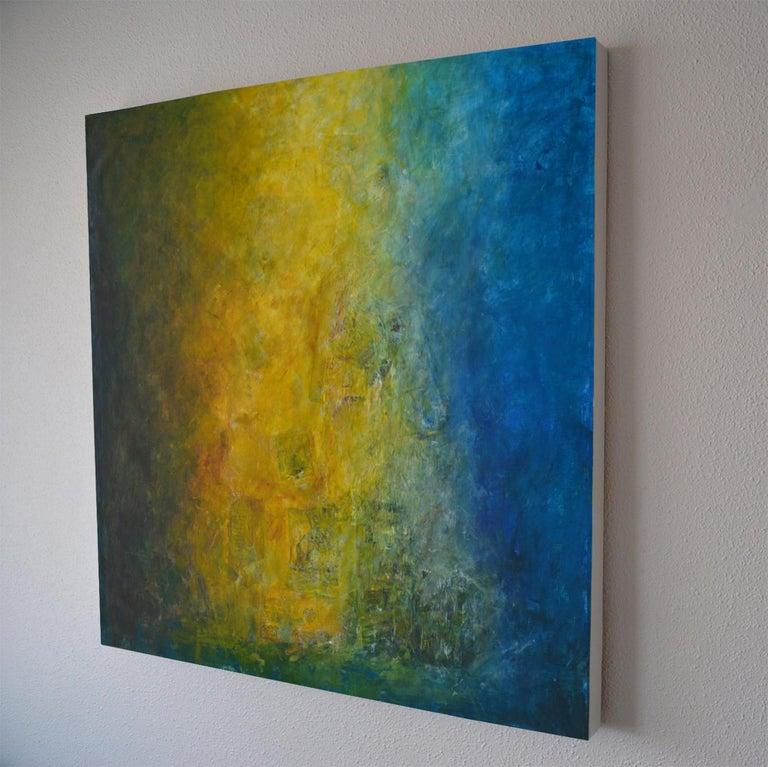 La Buena Fama, shades of blue, sea green shadows, moss green, yellow - Painting by Robert van Bolderick