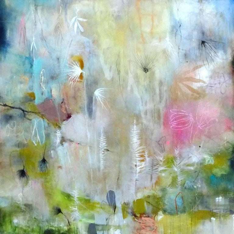 """""""Fire Pink II"""" original abstract oil, pigment and mixed media by Deedra Ludwig"""