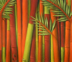 """""""Vietnam"""" oil painting on panel, bamboo and bugs, bright colors, by Alan Gerson"""
