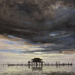 Pilings like Cypress Knees oil on canvas by Billy Solitario