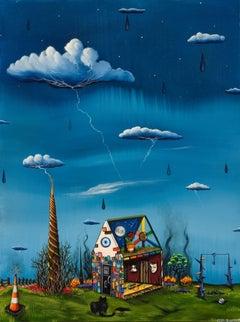 """An Uncertain Outcome"" original miniature surrealist oil on panel"