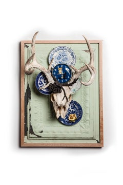 """""""Midnight"""" mixed media wall hanging sculpture, skulls, found objects"""