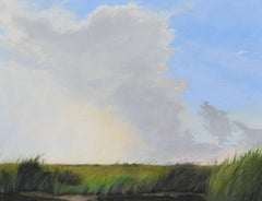 Storm Building on Marsh original pastel on paper by Mary Monk