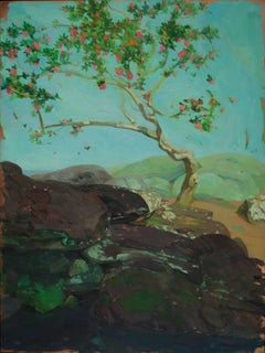 """Camellia Tree by Pool"" original oil on copper by Benjamin Shamback"