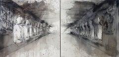 Marc Prat Painting: Agora - dyptic, mixed technique on canvas 70 x 140 cm