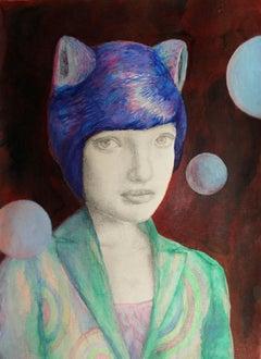 Eline Meyer: Alienina; portrait, mixed technique