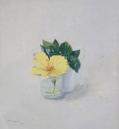Still life with flower 21st century oil painting on wood - Alberto Romero