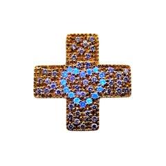 Performance Art :  DIAMONDS IN LOVE  Yellow Gold Cross Pendant Necklace