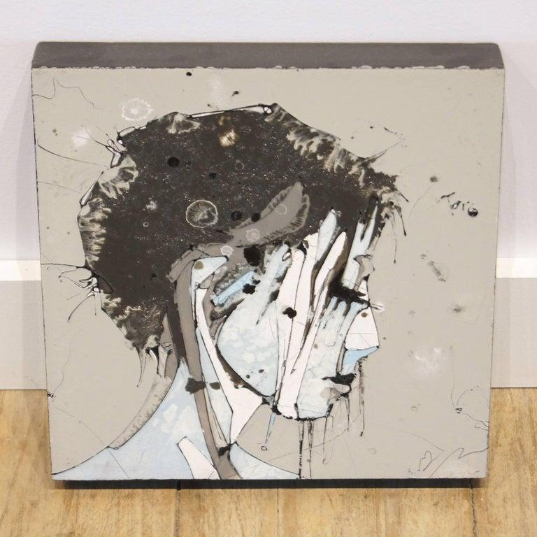 Urban Portrait Painting 'Faces 1' Freehand Oil Paint Drip/Drizzle Technique For Sale 1