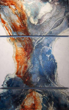 Abstract Expressionist Triptych 'Liberation' Painted & Laser-Etched Wood Panel